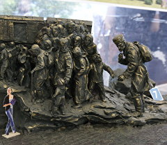 Макет мемориального комплекса, посвященного жертвам депортации, на железнодорожной станции Сирень в Бахчисарайском районе.
