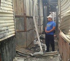 Последствия пожара на рынке Жаркынай в Базар-Коргонском районе