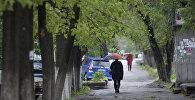 Женщина с зонтом на одном улиц Бишкека. Архивное фото