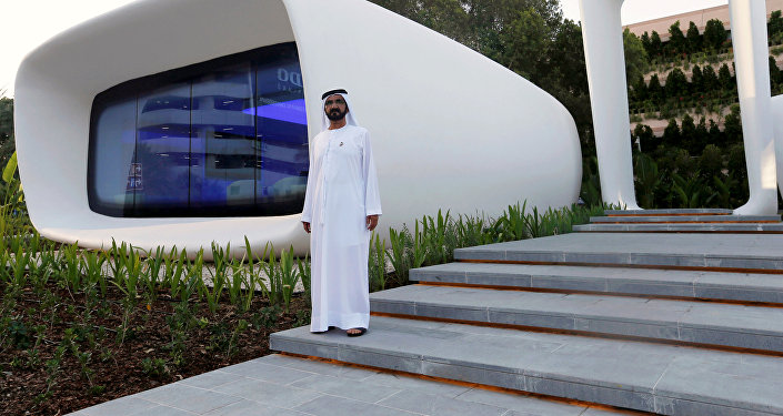 Шейх Мохаммед ибн Рашид Аль на церемонии открытия первого в мире здания, напечатанного на 3D-принтере