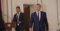 Президент Кыргызстана Алмазбек Атамбаев на церемонии вручения верительных грамот послами девяти государств.