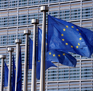Флаг Евросоюза на флагштоке в Брюсселе, Бельгия. Архивное фото