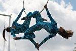 Россияда ачылган биринчи абада учуу жана аба гимнастикасы боюнча мектептин ачылышында машыктыруучулардын оюн-зоогу