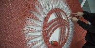 Государственный флаг Кыргызстана сделанная методом String art на день флага.