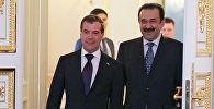Россиянын премьер-министри Дмитрий Медведев жана Казакстандын өкмөт башчысы Карим Масимов. Архив
