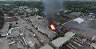 Пожар на улице Фучика в столице — аэросъемка