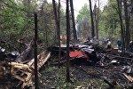 На месте крушения истребителя Су-27 в Пушкинском районе Подмосковья.