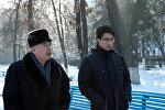 Писатель Чингиз Айтматов с сыном Эльдаром. Архивное фото