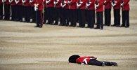 Упавший в обморок гвардеец упалу стен Букингемского дворца в Великобритании. Архивное фото