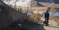 Мужчина тянет бочок с питьевой водой в селе Нарынской области. Архивное фото
