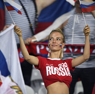 Болельщица на матче группового этапа чемпионата Европы по футболу - 2016 между сборными командами России и Словакии.