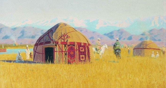 Чу дарыясындагы кыргыздардын турак жайы, 1869-1870. Василий Верещагин