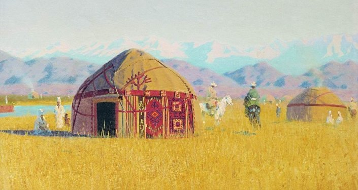 Киргизские кибитки на реке Чу, 1869-1870. Василий Верещагин