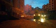 Пожарная машина на месте пожара пентхауса 12-этажного элитного дома на пересечении улиц Панфилова и Фрунзе