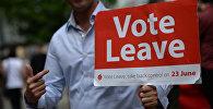 Волонтер на улице Манчестера с агитационным плакатом за выход Великобритании из Европейского Союза. Архивное фото