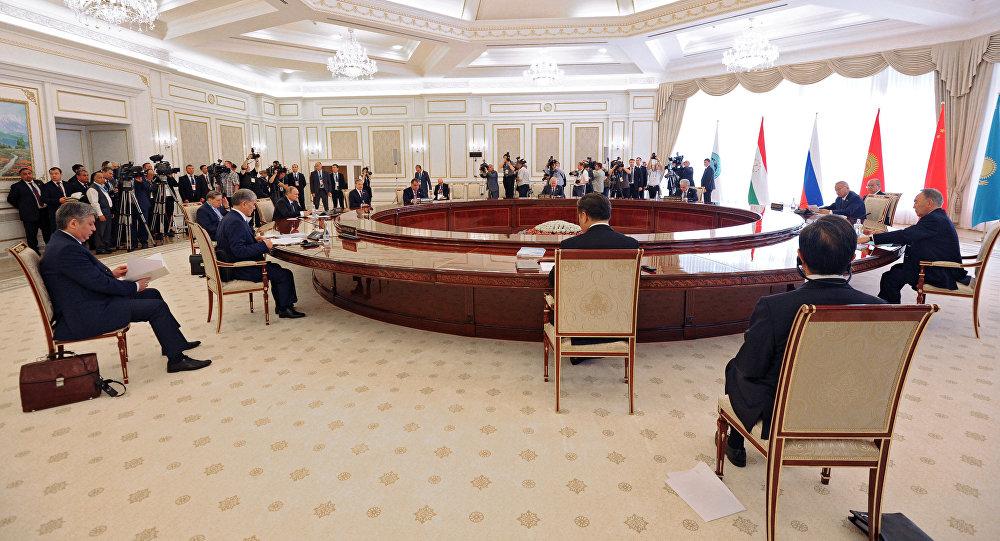 Заседание в Ташкенте Совета глав государств-членов Шанхайской организации сотрудничества, приуроченного к 15-летию создания ШОС.