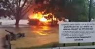 Горящий дом плавал во время паводков в Вирджинии
