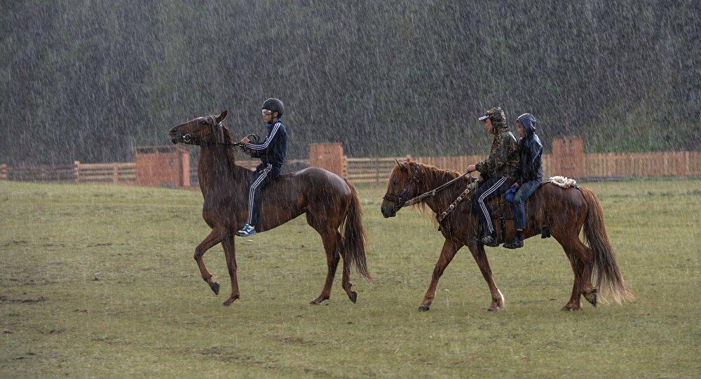 Всадники на лошадях во время дождя. Архивное фото