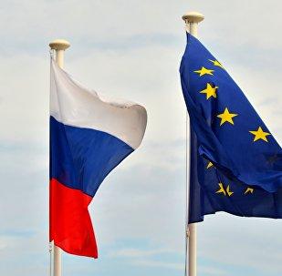 Флаги России, Евросоюза. Архивное фото