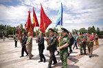 Военнослужащие на церемонии открытия Международного автопробега посвященный 75-ой годовщине образования Панфиловский дивизии.