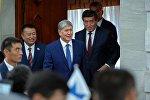 Президент Алмазбек Атамбаев, премьер-министр Сооронбай Жээнбеков жана ЖК төрагасы Чыныбай Турсунбеков. Архив