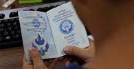 Кыргызстандын паспортун кармаган киши. Архивдик сүрөт