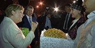 Ангелу Меркель в аэропорту встречали боорсоками и почетным караулом