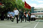 Военнослужащие на торжественном мероприятии, посвященное дню образования Национальной гвардии Кыргызстана