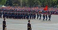 Кыргыз офицерлери Кытайдын Японияга каршы согушунун 70 жылдык жеңиши жана Экинчи дүйнөлүк согуштун аяктаганынын урматына Пекин шаарында аскердик парадында