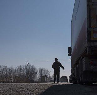 Большегрузная фура у автодороги на границе Кыргызстана с Казахстаном. Архивное фото