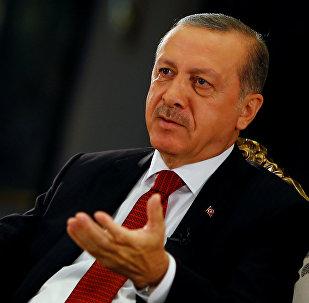 Президент Турции Тайип Эрдоган во время интервью. Архивное фото