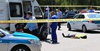 Сотрудники полиции Казахстана на месте происшествия. Архивное фото