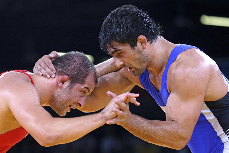Кыргызстанский борец по греко-римской борьбе Магомед Мусаев во время олимпийских игр в Лондоне