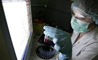 Сотрудница лаборатории во время проведения исследований. Архивное фото