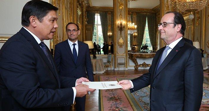 Вручение вручения верительной грамоты президенту Франции Франсуа Олланду
