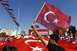 Сторонники президента Турции Режеп Тайип Эрдогана во время демонстранции в Стамбуле