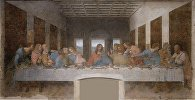 Картина Леонардо Да Винчи Тайная вечеря. Архивное фото