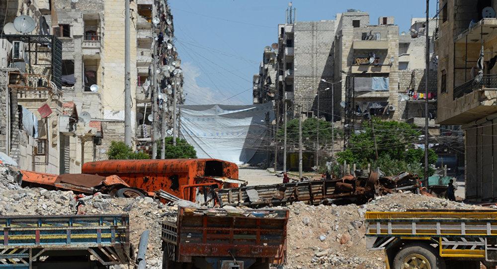 Разрушенные дома в районе Салах-ад-дин в Алеппо