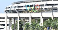 Стадион Маракана перед началом церемонии открытия XXXI летних Олимпийских игр в Рио-де-Жанейро.