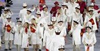 Рио-де-Жанейродогу ачылыш аземинде Кыргызстандык спортчулар. Архив