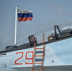 Истребитель Воздушно-космических сил РФ СУ-30 СМ. Архивное фото