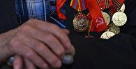 Ордена и медали на груди ветерана. Архивное фото