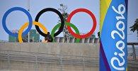 Олимпийская символика в Олимпийском парке в Рио-де-Жанейро.