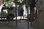 Боец спецназа на месте захвата заложников в здании ломбарда в Астане