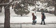 Школьники идут во время снегопада. Архивное фото