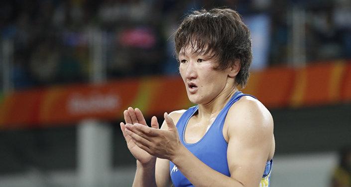 Борец в вольном стиле из Кыгызстана Айсулуу Тыныбекова на олимпийских играх в Рио-Де-Жанейро