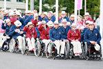 Российская паралимпийская сборная во время церемонии подъема флага России. Архивное фото