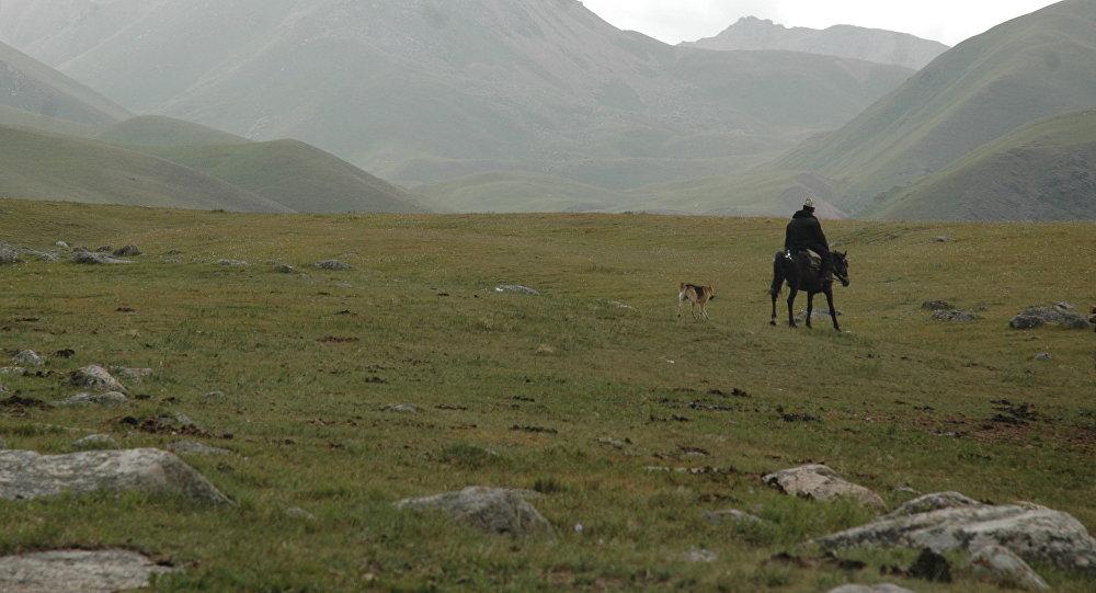 Пастух на джайлоо в Кыргызстане. Архивное фото