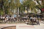 Айчүрөк ири соода борборундагы фонтандын оңдоп-түзөө иштеринен кийинки көрүнүшү