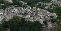Последствия разрушительного землетрясения в Италии. Съемка с воздуха